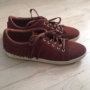 ZARA Suede Leather Fringe Brown Sneakers Size 9